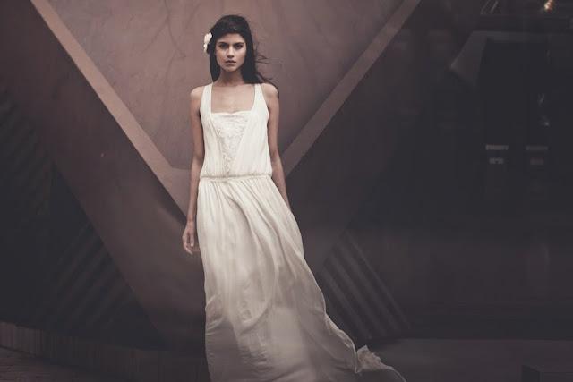 magnifique robe de mariée style années 20 rétro vintage de laure sagazan robe fluide morphologie 8 H longiligne