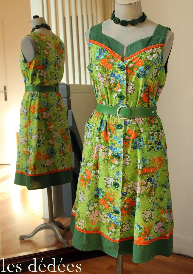 les dedees vintage recup creations la robe verte ete 70 atout fleurs by ben. Black Bedroom Furniture Sets. Home Design Ideas