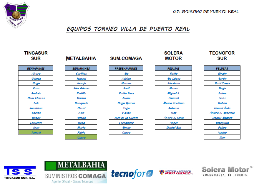 Sporting de puerto real equipos y primera jornada del for Horario correos puerto real