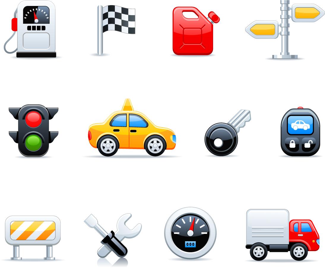 自動車関連のアイコン Automobile-related icons イラスト素材