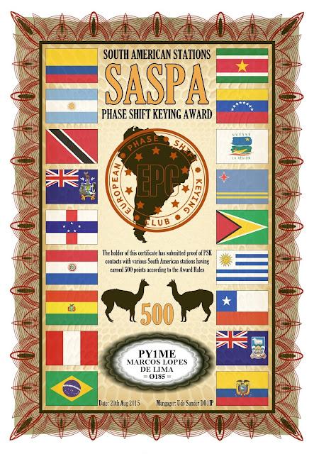 Foto do diploma SASPA 500 oferecido pelo EPC