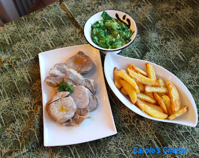 Brined butter poached pork with fries and bok choy by Carole's Chatter