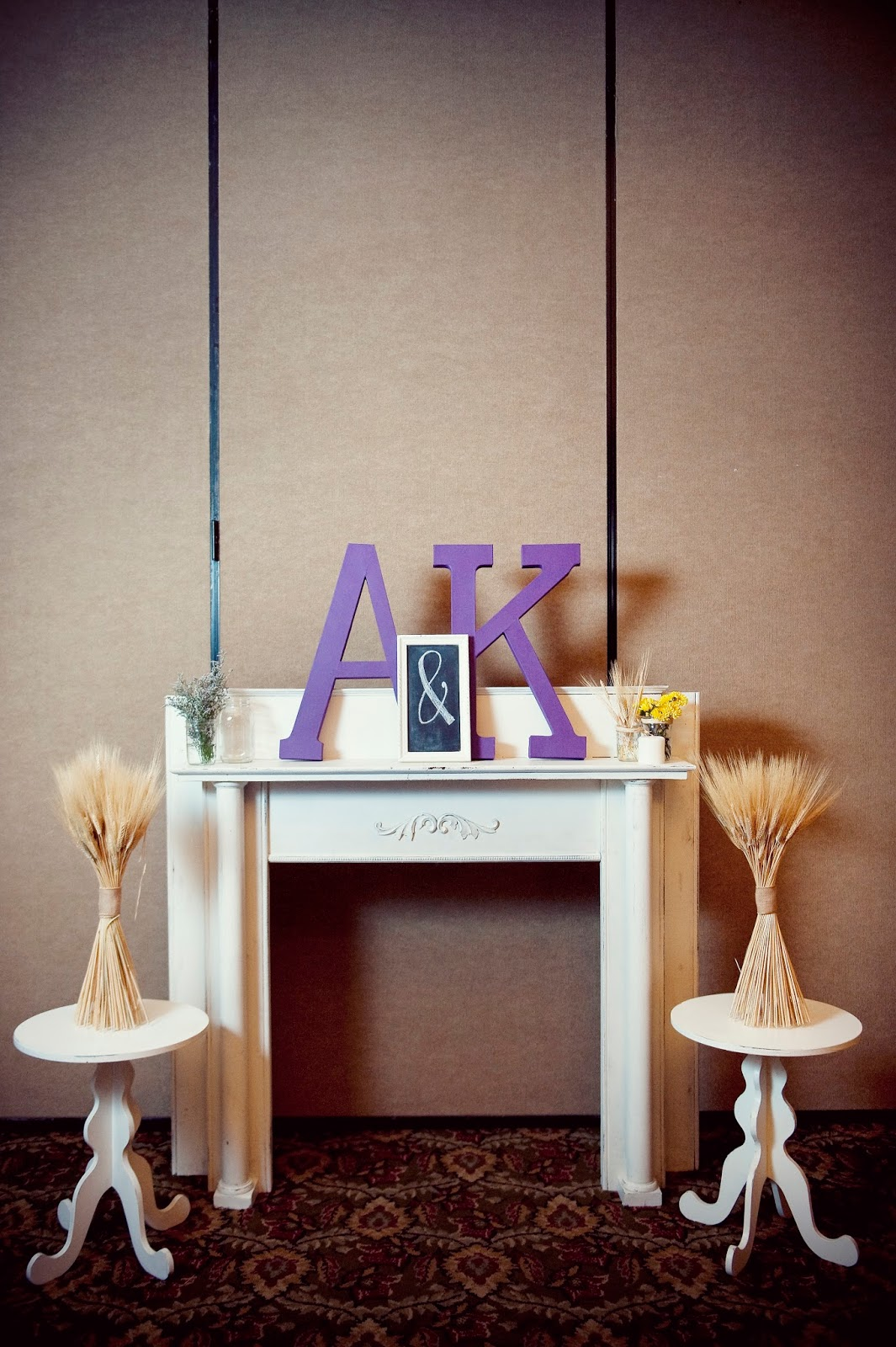 mantel, monogram, wheat, mason jars