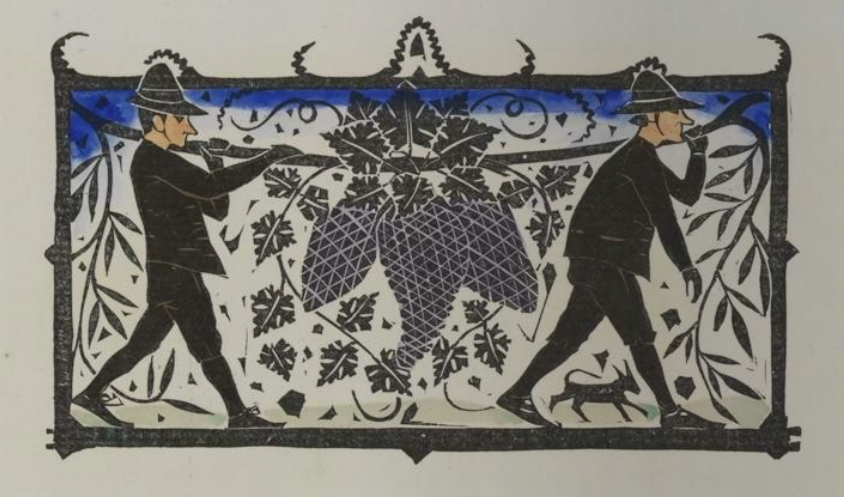 woodcut of men carrying plants by Gerrit Willem Dijsselhof 1894