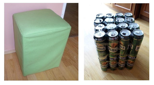 Pufy z puszek po piwie // Poufs made of beer cans. DIY