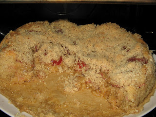 finished plum crumble cake