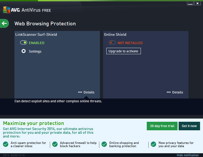 AVG LinkScanner Free 2014 - Surf Shield