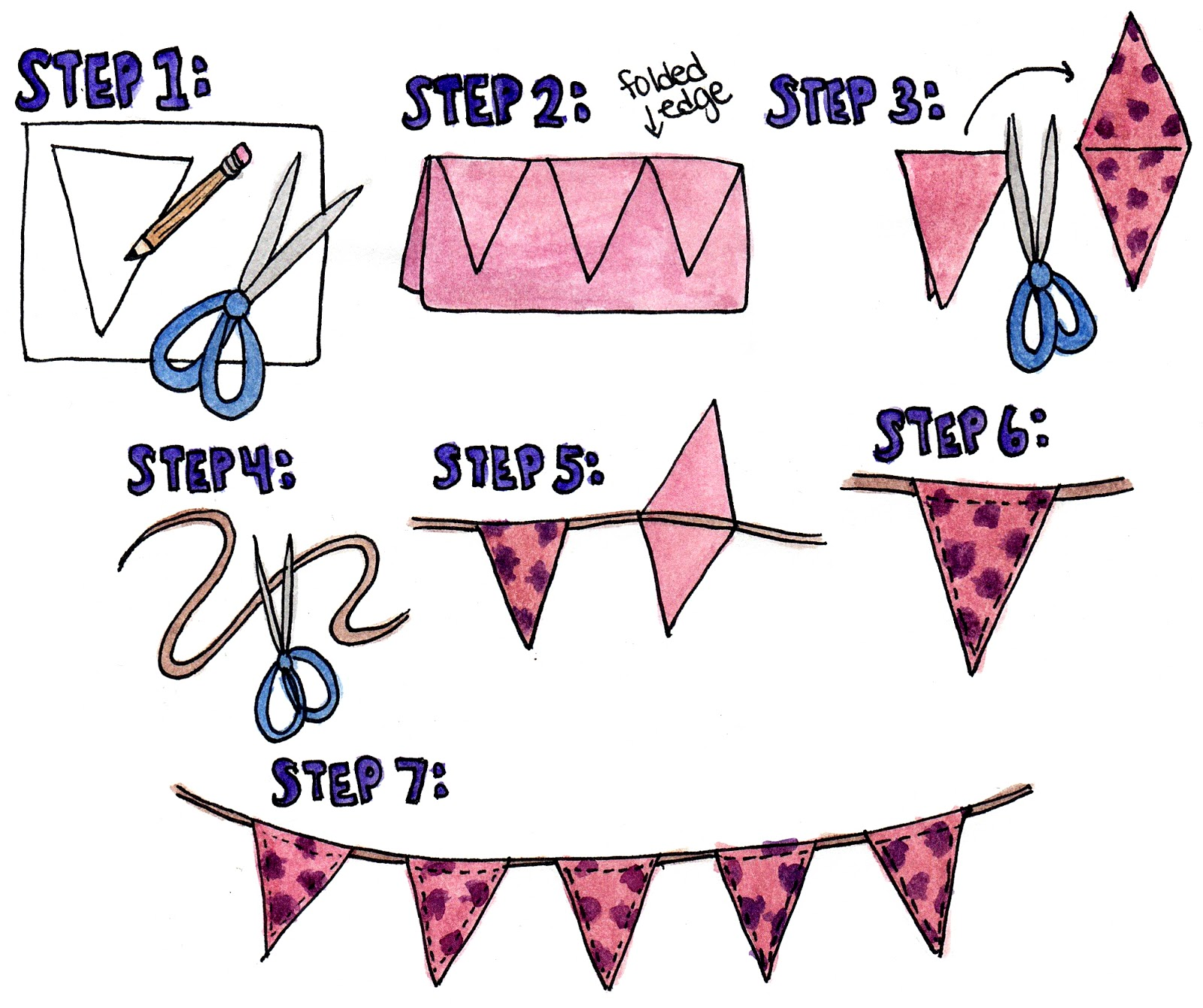 zauberbear how to make triangle bunting. Black Bedroom Furniture Sets. Home Design Ideas