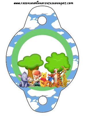 imprimible gratis de Winnie de Pooh y sus amigos para poner en las pajitas, pajillas o popotes