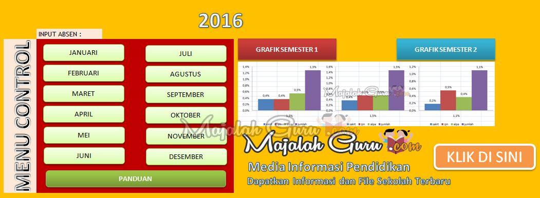 Menu Aplikasi Absensi Siswa SD Plus Grafik Per Semester (1 dan 2)
