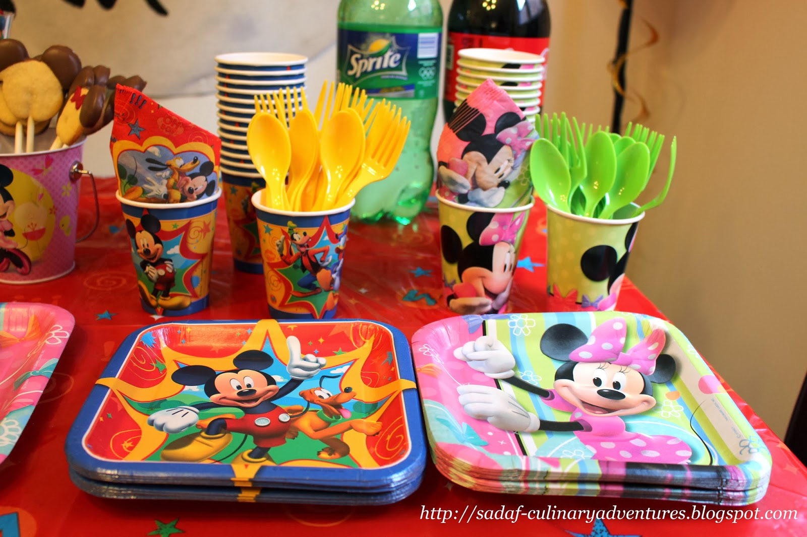Disposable Mickey and Minnie plates, cups, cutlery, napkins