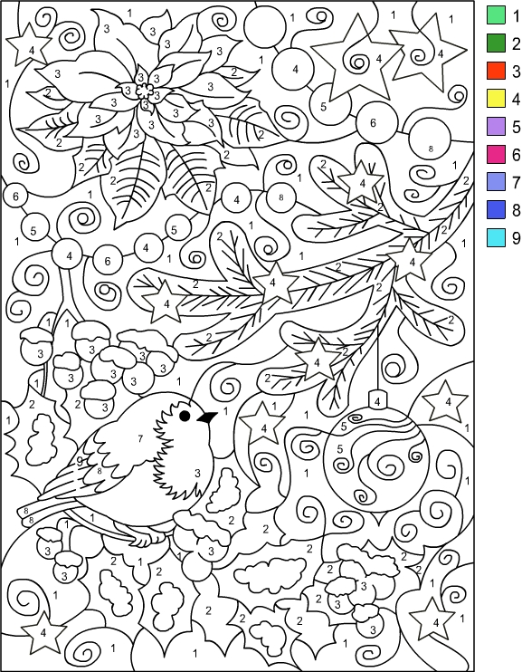 Nicole\'s Free Coloring Pages: COLOR BY NUMBER WINTER * Coloring page