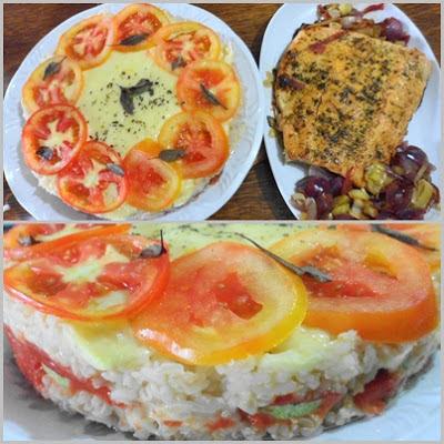 salmão e Arroz Integral de Forno
