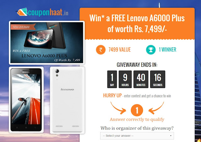 Lenovo A6000 plus giveaway worth Rs 7,499/-
