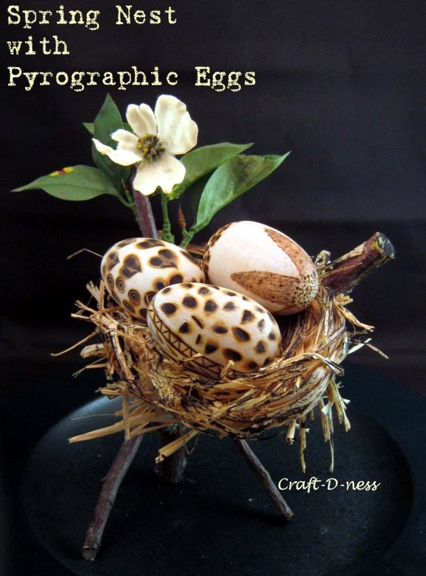 Spring Nest with Pyrographic Eggs