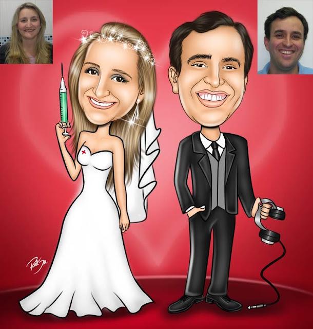 caricatura de DJ e noivinhos
