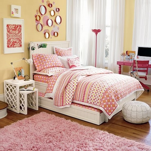 Yellow and pink room ideas light makes this room so inviting love the retro looking - Bed for girls room ...