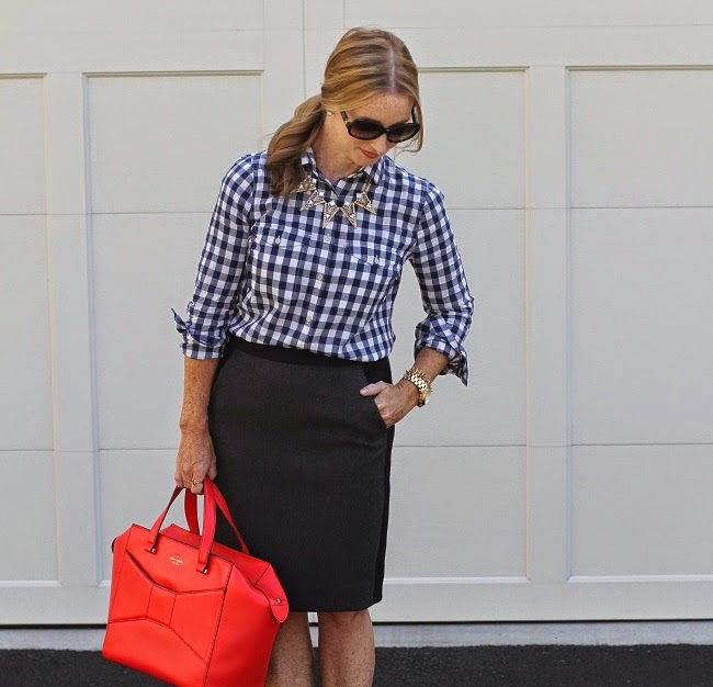 work style, jcrew wool pencil skirt, jcrew plaid shirt, kate spade beau bag, baubblebar necklace