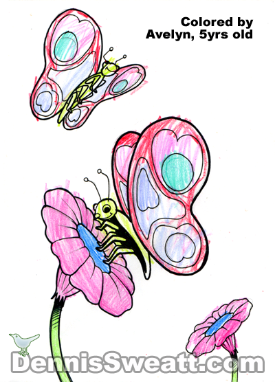 Coloring book Butterflies Flowers