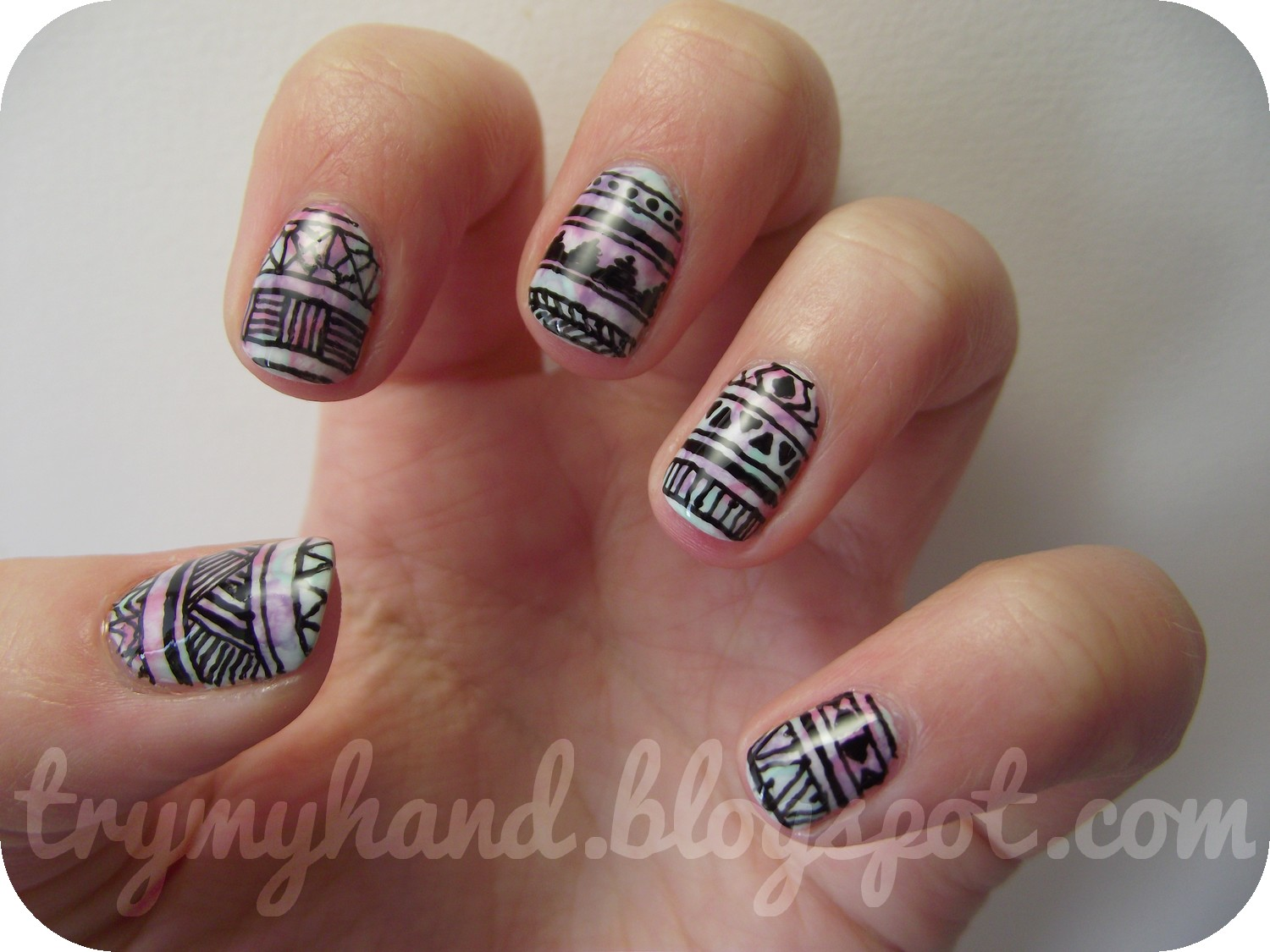 Try my hand alphabet nail art challenge a for aztec alphabet nail art challenge a for aztec prinsesfo Choice Image