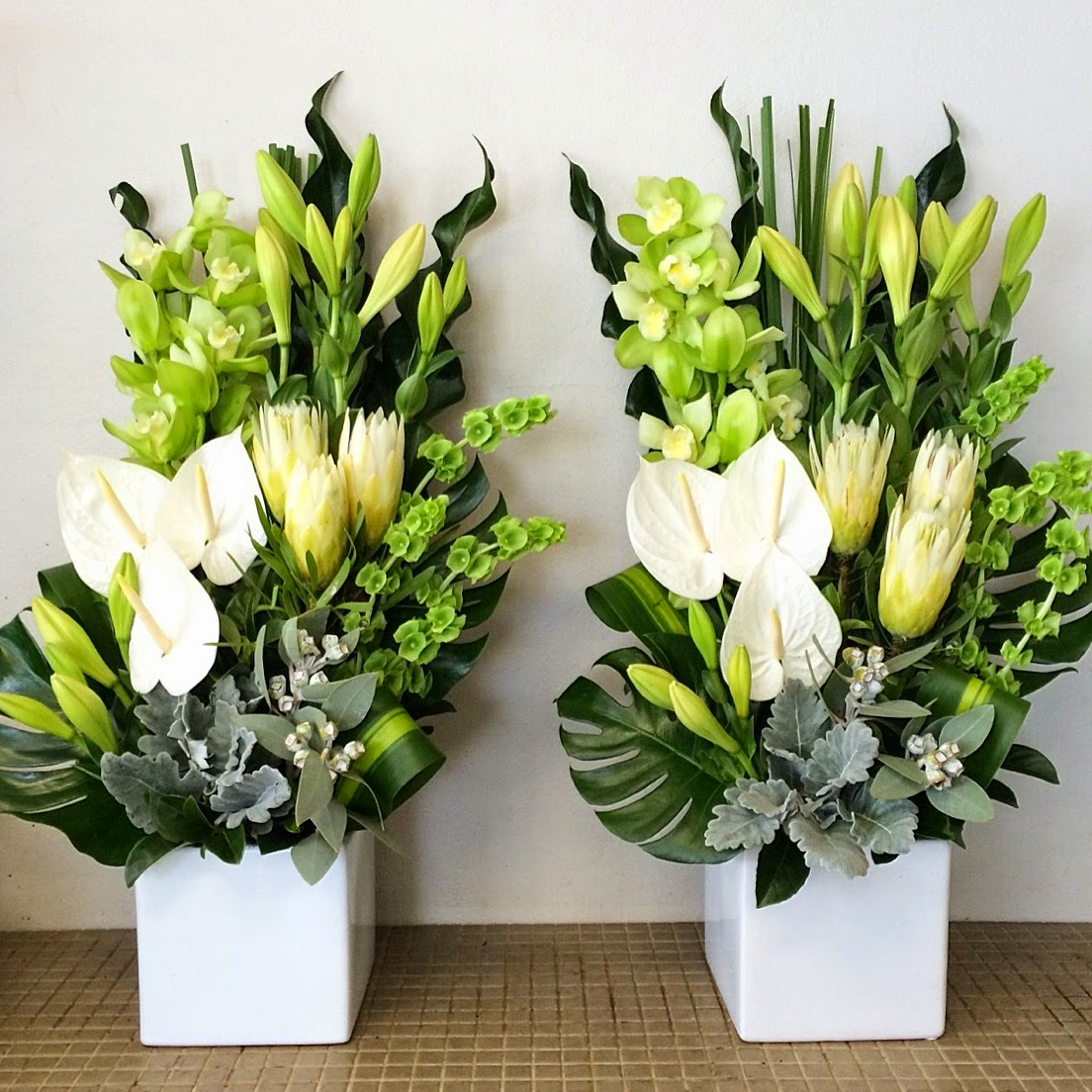 Urban flower lime and white flowers for church event in