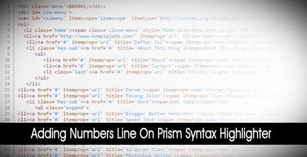 Penomoran Baris Pada Prism Syntax Highlighter