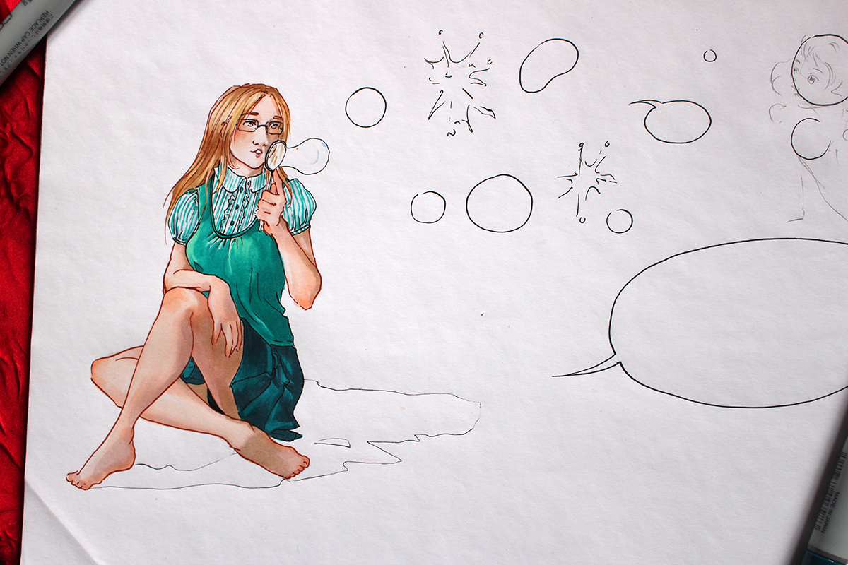 Mise en couleur du dessin de bannière les bulles d'Astate 3