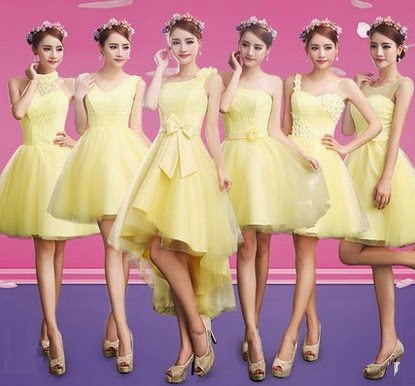 Vibrant Yellow 6-Design Bridesmaids Midi Dress