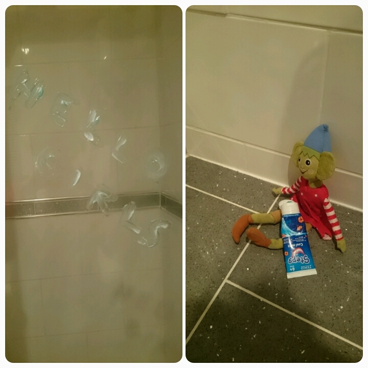 elf on the shelf toothpaste mess