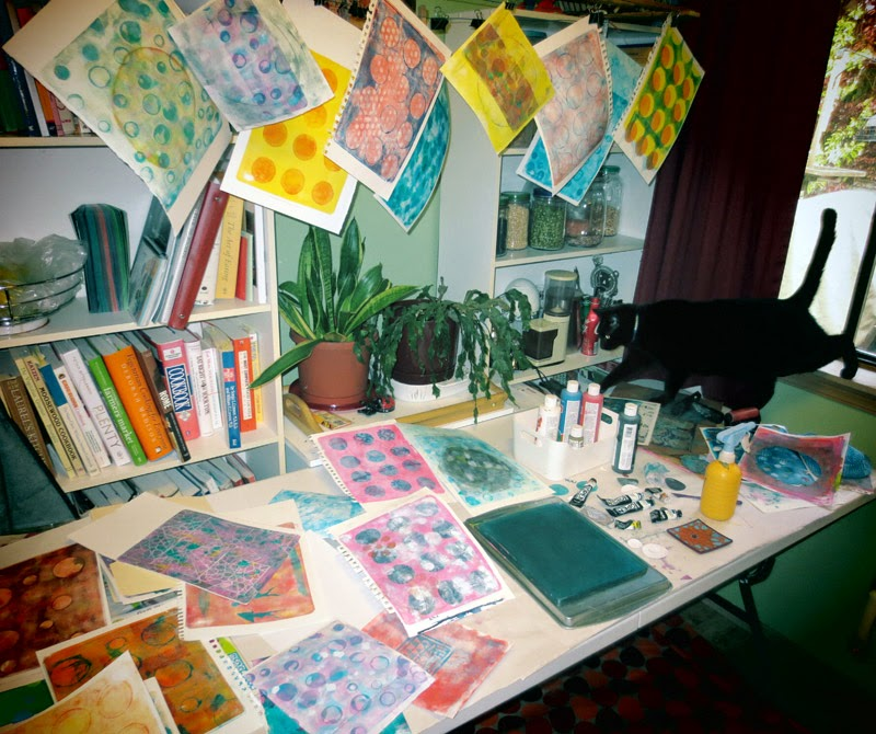 Gelli plate printing takes over my kitchen