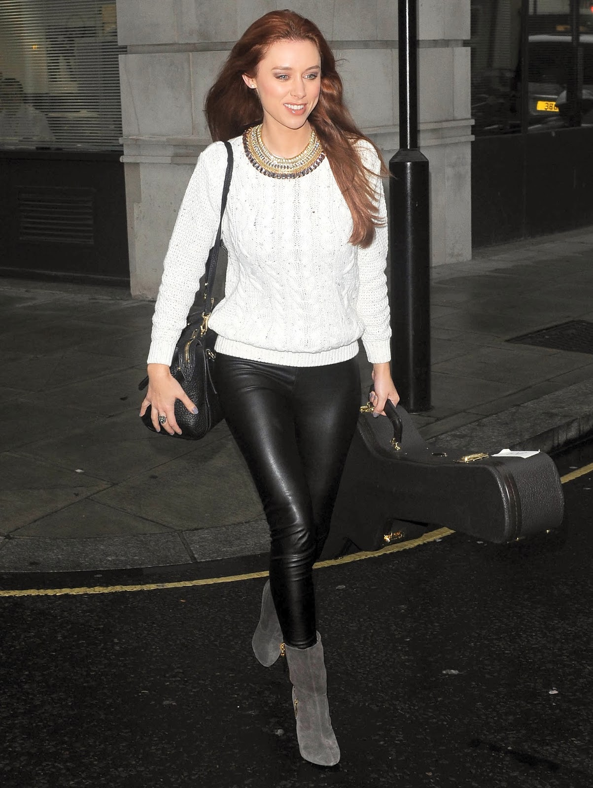 lovely ladies in leather una healy foden in leather pants