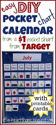 Diy Calendar For Preschool : A heart for home sew your own pocket chart calendar from