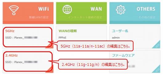 PLANEX製ルータの設定画面の「WiFi」項目から[5GHz]または[2.4GHz]をクリック