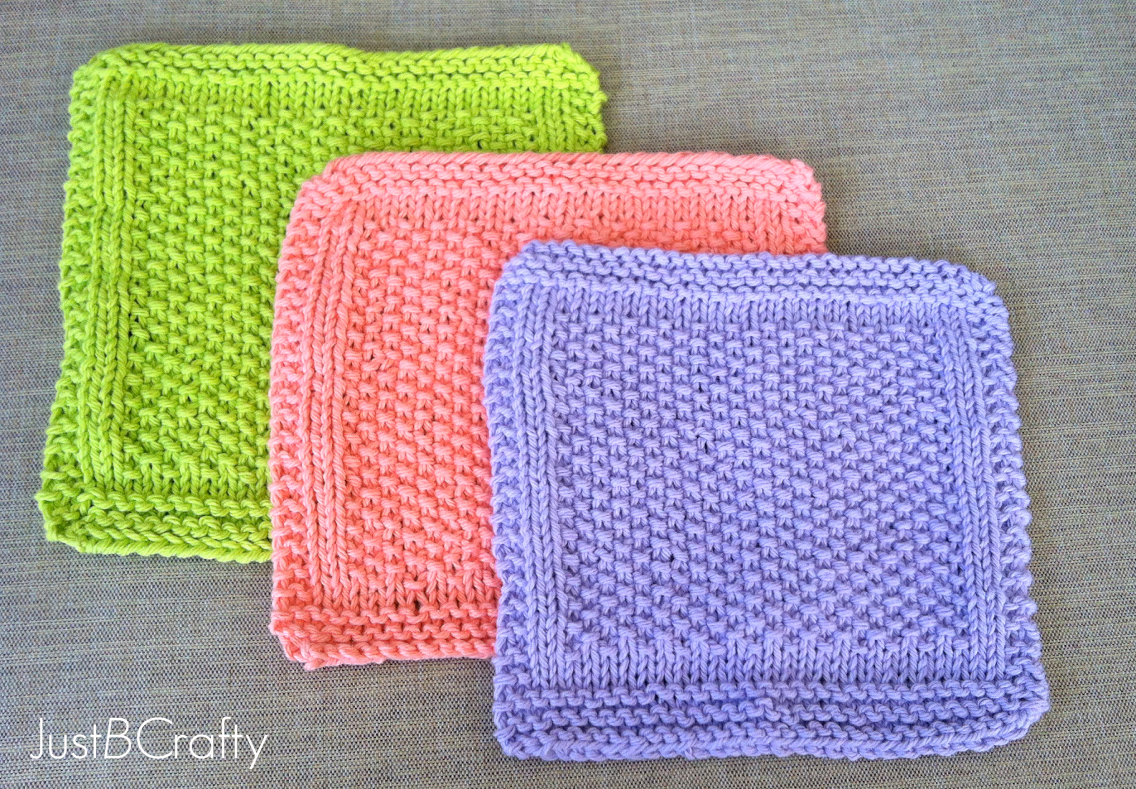 Crafty Knitting Patterns : Seed Stitch Dishcloths - Just Be Crafty