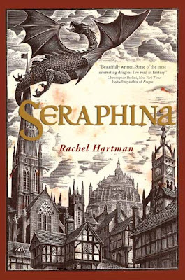 Cover of Seraphina, featuring an medieval-style engraving of a dragon flying over a city