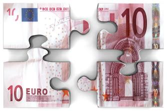 Billet de 10 euros morcelé façon puzzle