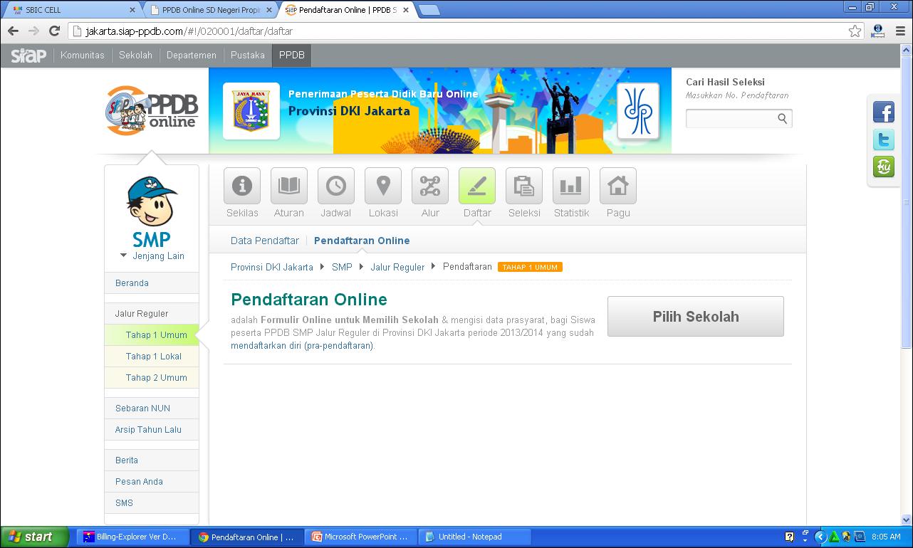 Cara Pendaftaran ke SMP ONLINE Tahun 2013 ~ SBIC