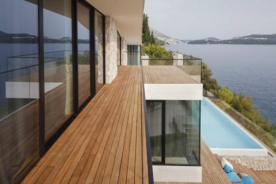 Casa v2 moderna fachada de piedra blanca / 3lhd architects ...