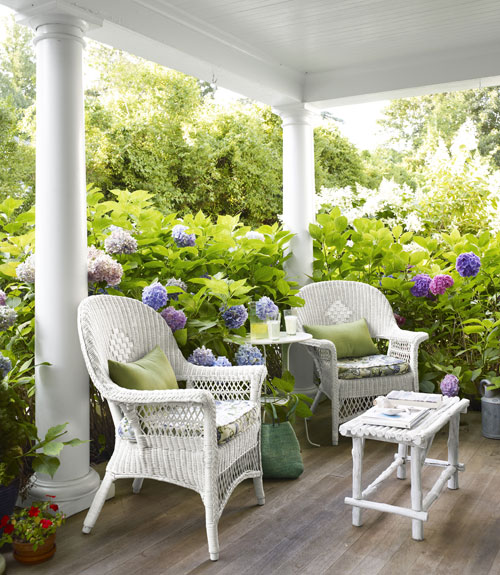 hydrangeas are my favorite flower so i find this porch surrounded
