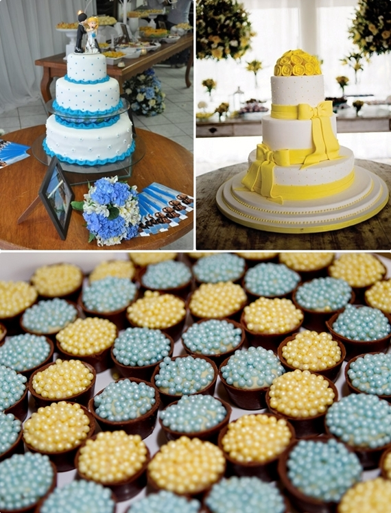 decoracao de casamento azul e amarelo simples : decoracao de casamento azul e amarelo simples:Abuse dos docinhos que podem ser todos coloridos, conforme as cores