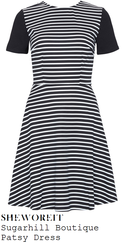 vicky-pattison-black-and-white-monochrome-striped-short-sleeve-skater-dress-beauty-show-london