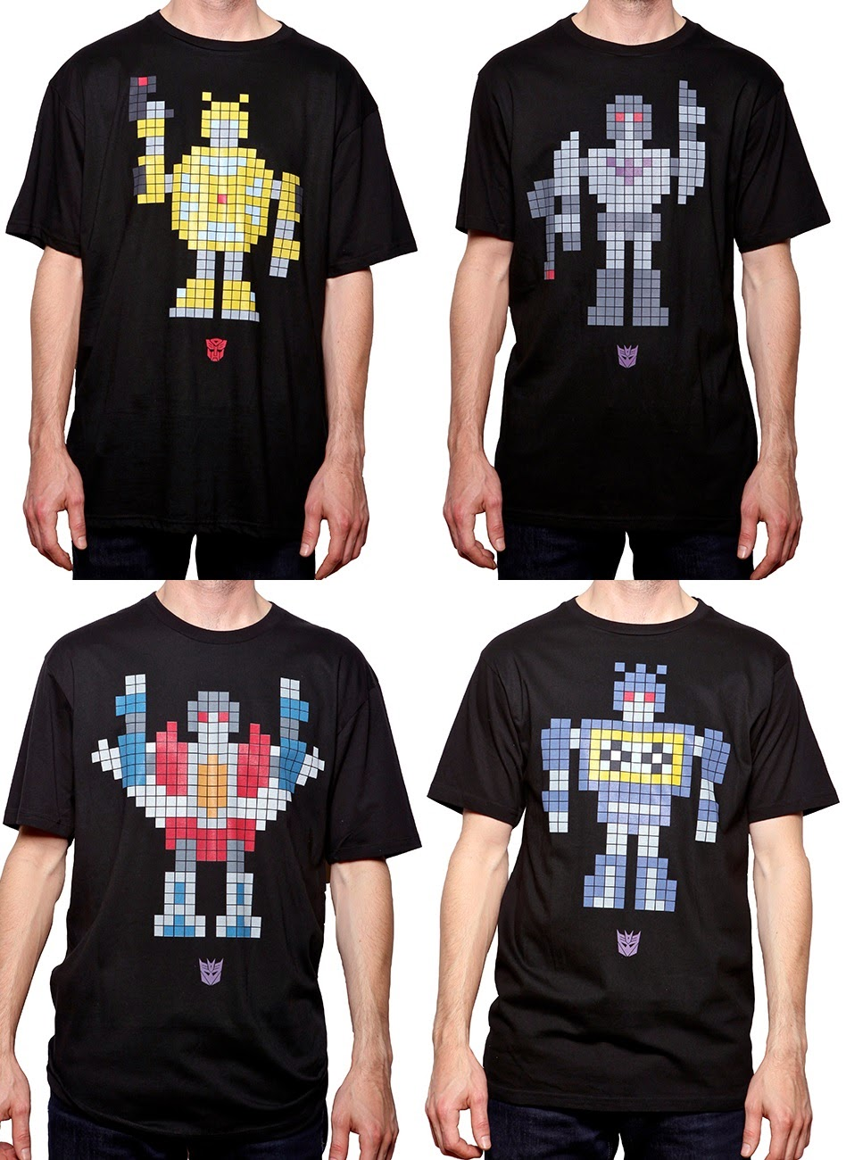 8 Bit Transformers T-Shirts by The Loyal Subjects - Bumblebee, Megatron, Starscream & Soundwave