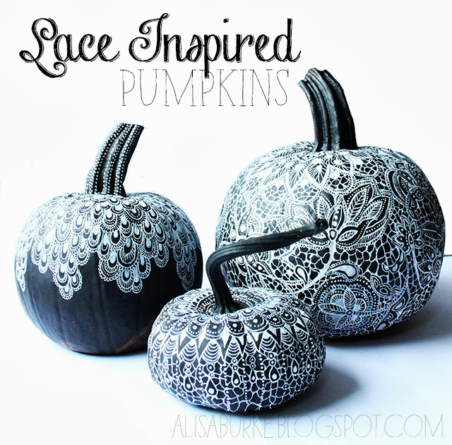 Lace Inspired Pumpkins from Alisa Burke  |  25 Creative DIY Pumpkins at www.andersonandgrant.com