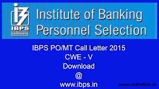 IBPS PO Call Letter 2015 Preliminary Exam Hall Ticket www.ibps.in