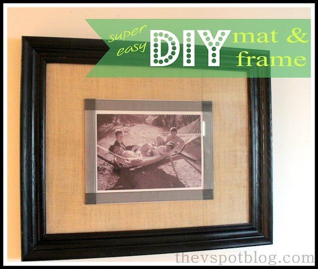 frame, mat, burlap, black and white photo, black ribbon, black frame, wall decor, art