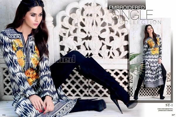 Gul Ahmed FW Single Print Vol-1 2014-15