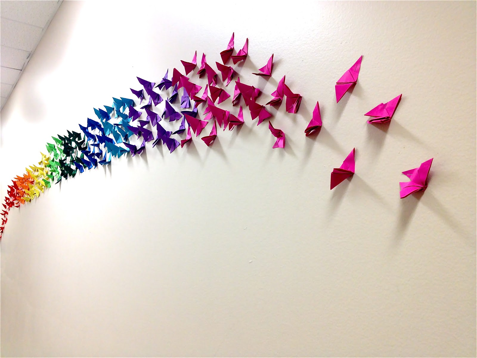 Art school at st george place origami butterfly rainbow for How to make paper butterflies for wall