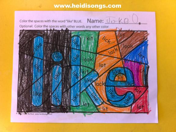 Coloring yes Worksheets! (Freebie  Heidi Sight alert!) sight Hidden worksheets Songs  word  Word