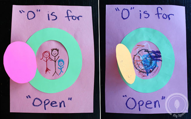 Toddler/Preshooler letter of the week craft O is for Open with related craft, tracing sheets and fruits/vegetables.