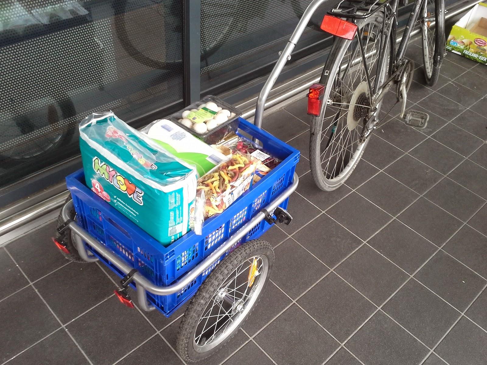 Fahrradanhänger für den Einkauf - Lastenanhänger mit herausnehmbarem Korb